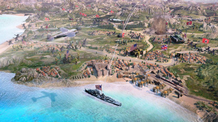 una toma estilizada del nuevo mapa de campaña en RTS Game Company of Heroes 3