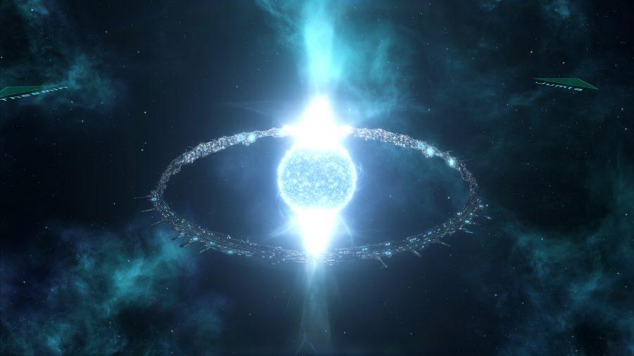 Un mundo de anillos envuelto alrededor de un sol en el juego espacial Stellaris
