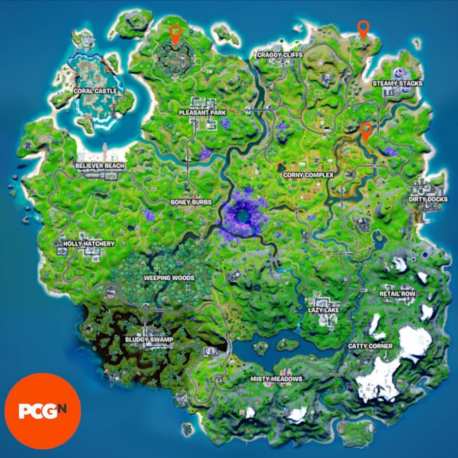 Las tres ubicaciones de inteligencia de IO que necesitas destruir, ancladas en un mapa.